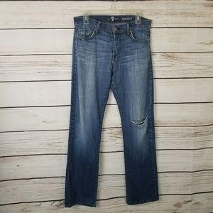 7 FAM Standard Straight Leg Button Fly Jeans